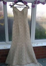DESIGNER JUSTIN ALEXANDER CHAMPAGNE GOLD WEDDING DRESS SIZE 10+CHAMPAGNE VEIL