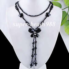 "Black Crystal Quartz Beads Butterfly Pendant Necklace Long Chain 27"" SF172"