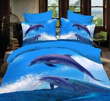 3D Dolphin Animal Queen Bed Set Sheet Duvet Cover Pillowcases Not Comforter 4pcs