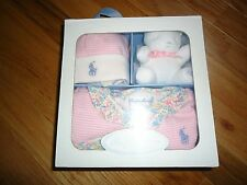 +++nwt  Ralph Lauren 100% Cotton Baby Girls 3PC Gift Set sz 12M+++