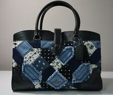 Coach Mercer Canyon Quilt Denim and Grain Leather Satchel Bag F37730