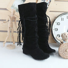 New Womens Winter Warm Suede Tassel Mid-calf Snow Long Boots Wedge Heels Shoes