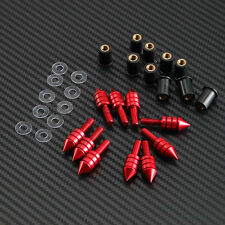 Red Motorcycle M5 Spike Windscreen Bolt Well Nuts Washers Screws for Sport Bike