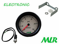 52MM BOOST GAUGE & SENDER KIT 30PSI WHITE FACE ELECTRONIC STEPPER MOTOR MLR.AZR