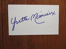 """YVETTE   MIMIEUX   (""""Dr.  Kildare"""")  Signed  3  x  5   Index   Card"""