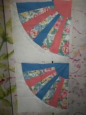 """""""Pre-Made Quilt Tops"""" for Pillows, 2 Pieces, On Muslin, Pinks and Blues, 20"""" SQ."""