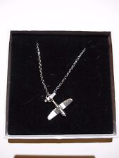 """Vought F4U Corsair  code93 Aeroplane On a 16"""" Silver Plated Curb Chain Necklace"""
