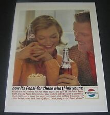 Print Ad 1963 SODA Pepsi-Cola For Those Who Think Young Man Woman Popcorn