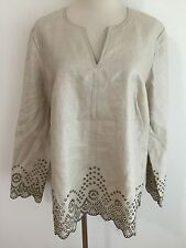 Talbots Woman Tunic Top Shimmery Beige Brown, Embroidered Lace Plus Size 12W