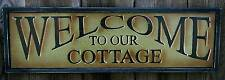 "22"" WELCOME TO OUR COTTAGE Wood Sign-Vtg Rustic Primitive Lodge/Lake House Decor"