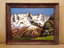 Beautiful Oil & Acrylic on Board Painting Mountains-cape Landscape Custom Framed