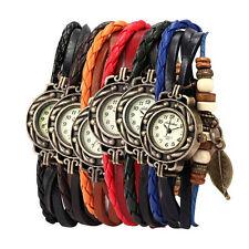 6PC Womens Bracelet Weave Wrap Quartz Leather Leaf Beads Wrist Watches Cheap