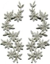 Silver flowers boho granny chic golden applique iron-on patches pair S-1185