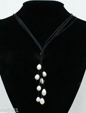 New Fashion Black Leather Rope & White Freshwater Pearl Necklace 21'' Long