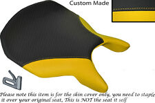 CARBON FIBRE VINYL & YELLOW LEATHER CUSTOM FITS DUCATI 999 749 FRONT SEAT COVER