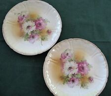 Pair Antique Franz Anton Mehlem Bonn Floral Poppies Art Nouveau Plates