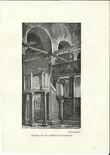 Stampa antica VENEZIA TORCELLO Interno Basilica 1887 Old antique print VENICE
