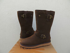 UGG SUTTER BROWN LEATHER/ SHEEPSKIN BUCKLE WINTER BOOTS, US 8/ EUR 39 ~ NEW