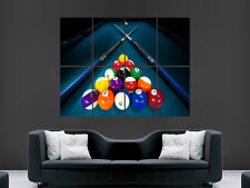 AMERCIAN POOL BALLS CUE TABLE POSTER LARGE ART  GIANT PRINT IMAGE HUGE
