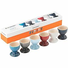Le Creuset Stoneware Egg Cups Set Of 6 Coastal Rainbow - Deluxe Gift Box