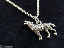 "Wolf Pendant 18"" silver plated chain wicca pagan jewellery totem animal spirit"