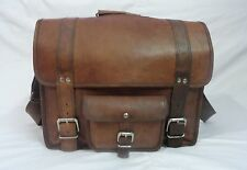 "18x14"" Real Brown Leather Padded Briefcase Laptop Mabook Overnight Travel Bag"
