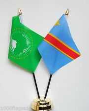 African Union & Congo Kinshasa Double Friendship Table Flag Set