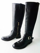 VINCE CAMUTO US 8.5M KABO BLACK LEATHER RIDING STYLE TALL BOOTS