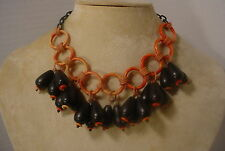 Vintage Celluloid  Wood Plastic Funky Dangle Charm  Necklace Choker