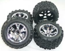 Traxxas Revo 3.3 * FRONT & REAR MAXX TIRES & GEODE 17mm CHROME WHEELS * Inserts