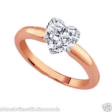 1.25 Ct Heart Cut Solitaire Engagement Wedding Ring Solid 14K Rose Pink Gold