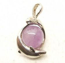 Vtg Sterling Silver Dolphin Clutching Amethyst Crystal Ball Pendant Prism Sphere