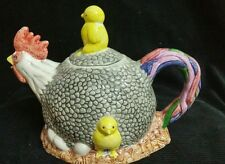 Vintage Roaster's Wife ( HEN ) Ceramic Tea Pot Hatching Eggs Chick Riding