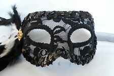 Black Lace Masquerade Mask With Feather - Ribbon Tie On - Express Post Available