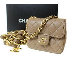 CHANEL Matelasse Quilted Chain Belt Mini Bag Brown Leather Vintage Auth #8510 M