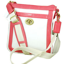 NWT Coach Signature Cricket Coral White CROSS BODY SWINGPACK Shoulder Leather