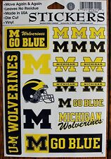 18 University Michigan Wolverines Stickers Go Blue College Football Decal U of M