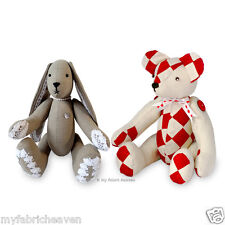 "2 x Sewing PATTERNS Harley Bear 14"" Patchwork Teddy & Lacy Bunny 11"" Rabbit Toys"