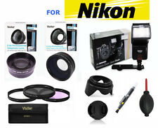 WIDE ANGLE LENS + TELEPHOTO ZOOM LENS + FLASH KIT FOR NIKON DSLR CAMERAS FREE SH