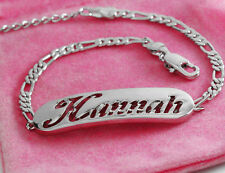 HANNAH Name Bracelet 18ct White Gold Plated Personalised Christmas Gifts Girls