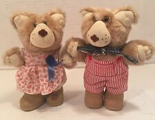 Coleco 1985 Xavier Roberts Furskins Girl Boy Bear w/ Outfit Plush Doll
