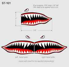 "Flying Tigers shark teeth decals  1"" t x 2.5"" WWII plane canoe stickers airplane"