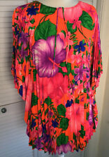 VINTAGE 60's Hippie Caftan Accordian Pleated Rayon Hawaiian Luau Bark Cloth