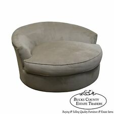 Large Oversized Round Revolving Swivel Chair Loveseat (Style of Milo Baughman)