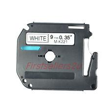 3pc Noir sur Blanc Ruban Étiquette Cassette Tape Pr Brother M-K221 MK221 P-touch