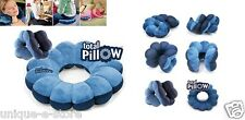Total Pillow Blue Travel Comfort Twist Neck Back Head Cushion