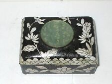 OLD 19TH CENTURY CHINESE FLORAL CLOISONNE BLACK ENAMEL JADE HUMIDOR JAR BOX