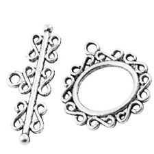 10 Sets 27x24mm Tibetan Silver Alloy Oval Toggle Clasps - A6382