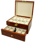 BOXBUR20 - 20 Watch Box Burlwood Finish Solid Top