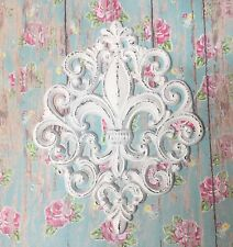 Fleur de lis  Very Ornate Cast Iron Shabby Chic Wall Decor Pure White
